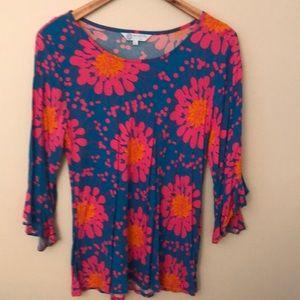Escapada bright ruffle sleeve blouse, Sz L